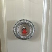 Christmas Tree Decoration in Silver with Red Beaded Angel