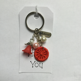 Angel Charm Dorset Button Keyring in Red
