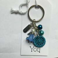 Dorset Button and Beaded Angel Bag Charm Keyring in Blue