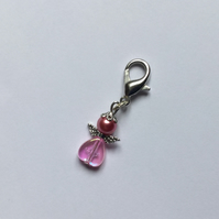 Beaded Angel Bag Charm Zip Pull in Pink