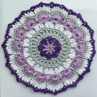 Crochet Mandala Table Mat in Purple, White,  Lilac and Grey