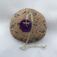 Dorset Button Pendant in Purple with Dragonfly Charm