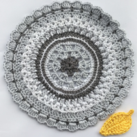 Crochet Mandala Table Mat in White and 2 Shades of Grey.