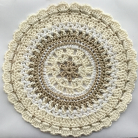 Crochet Mandala Table Mat in Coffee Cream and White