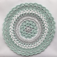 Crochet Mandala Table Mat Coaster in Light Mint, Grey and White