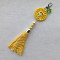 Bag Charm with Dorset Button and Tassel in Yellow
