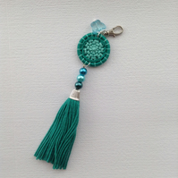 Bag Charm with Dorset Button and Tassel in Turquoise Green