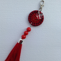 Dorset Button and Tassel Bag Charm in Red