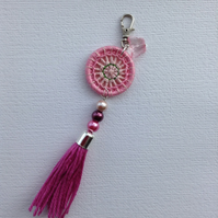 Dorset Button and Tassel Bag Charm in Pink