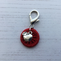 Bag Charm Zip Pull with an Apple Charm and Red Dorset Button