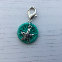 Zip Journal Bag Charm with Turquoise Dorset Button and Starfish Charm
