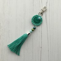 Bag Charm with Dorset Button and Tassel in Turquoise