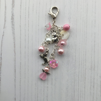 Pink and White Beaded Nappy Bag Charm