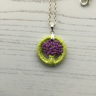 Dorset Button Pendant in Violet and Green