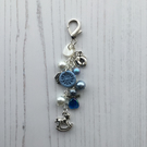 Nursery Bag Charm with Beaded Angel and Dorset Button in Blue