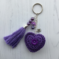 Crochet Heart and Handmade Beaded Tassel Keyring Bag Charm in Purple