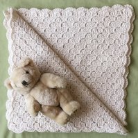 Crochet Baby Blanket in Cream Soft Cotton