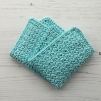 Crochet Facecloth in a Soft Cotton Yarn in Mint