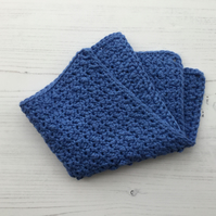 Crochet Facecloth in Saxe Blue Soft Cotton Yarn