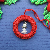 Crochet Christmas Tree Decoration in Red with White Beaded Angel