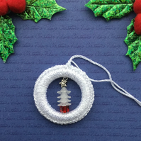 Crochet Christmas Tree Decoration in White with a Beaded Tree