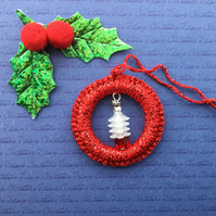 Crochet Christmas Tree Decoration in Red with a White Beaded Tree