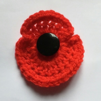 Crochet Red Poppy for Remembrance Day