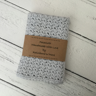 Crochet Facecloth Washcloth in Pale Grey Soft Cotton