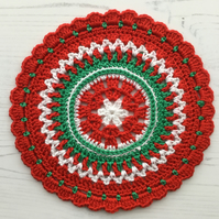 Crochet Christmas Mandala Table Mat in Red, White and Green