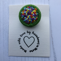 Dorset Button Rainbow Brooch