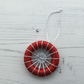 Dorset Button Christmas Tree Decoration in Red and Silver