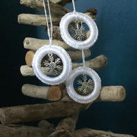 Crochet Christmas Tree Decoration in White with a Snowflake Charm