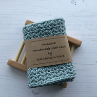 Crochet Facecloth Washcloth in a Misty Grey