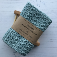 Crochet Larger Size Facecloth Washcloth in Misty Grey