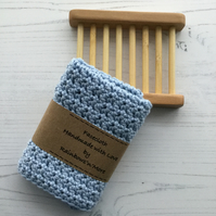 Crocheted Facecloth and Washcloth in Pale Blue