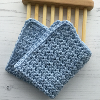 Crocheted Facecloth Washcloth in Pale Blue