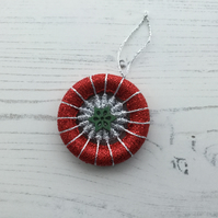 Dorset Button Christmas Tree Decoration in Red and Silver with Green Snowflakes