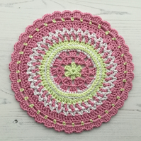 Crochet Mandala Table Mat in Pink Green and White