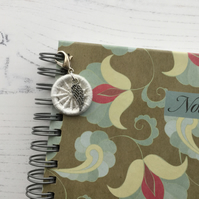 Journal Charm with White Dorset Button and Angel Wing Charm