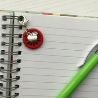 Charm for a Zip, Bag or Journal with an Apple and a Red Dorset Button