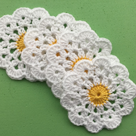 Crochet Daisy Flower Coasters