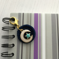 Midnight Blue Dorset Button with a Moon and Star Charm for Journal or Bag