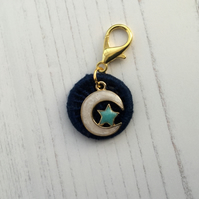 Indigo Blue Dorset Button with a Moon and Star Charm for Journal or Bag
