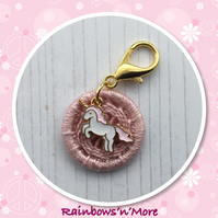 Dorset Button in Pink with an Enamel Unicorn Charm