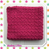 Crochet Eco Friendly Cotton Facecloth Dishcloth In Bright Pink