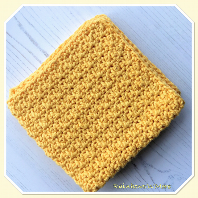 Crochet Eco Friendly Cotton Dishcloth in Yellow
