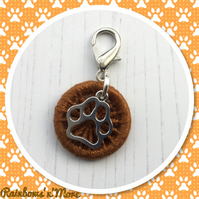 Dorset Button with Pawprint Charm for Bag Journal Notebook
