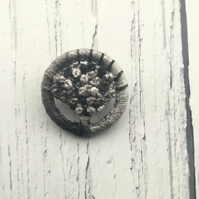 Dorset Button Brooch in Shades of Grey.