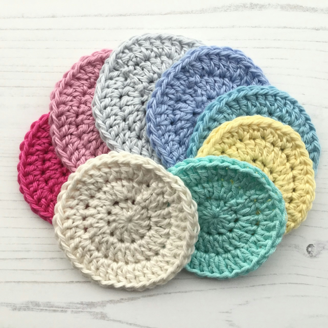 Crochet Reusable Cotton Face Scrubbies Makeup R... - Folksy