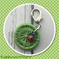 Dorset Button and Ladybird Charm for Journal Notebook Bag